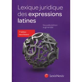 couverture publication lexique juridique des expressions latines