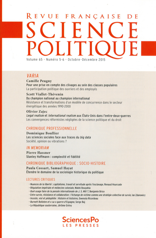 Couverture revue science politique
