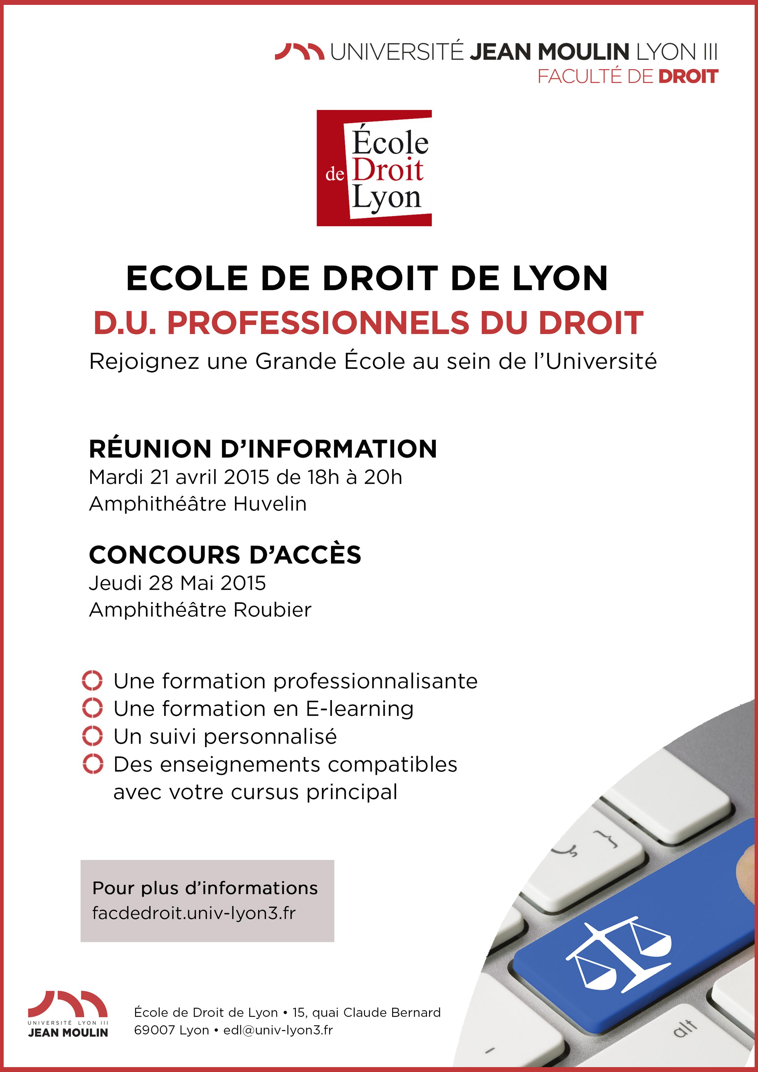 affiche réunion d'information sur le DU professionnels de droit