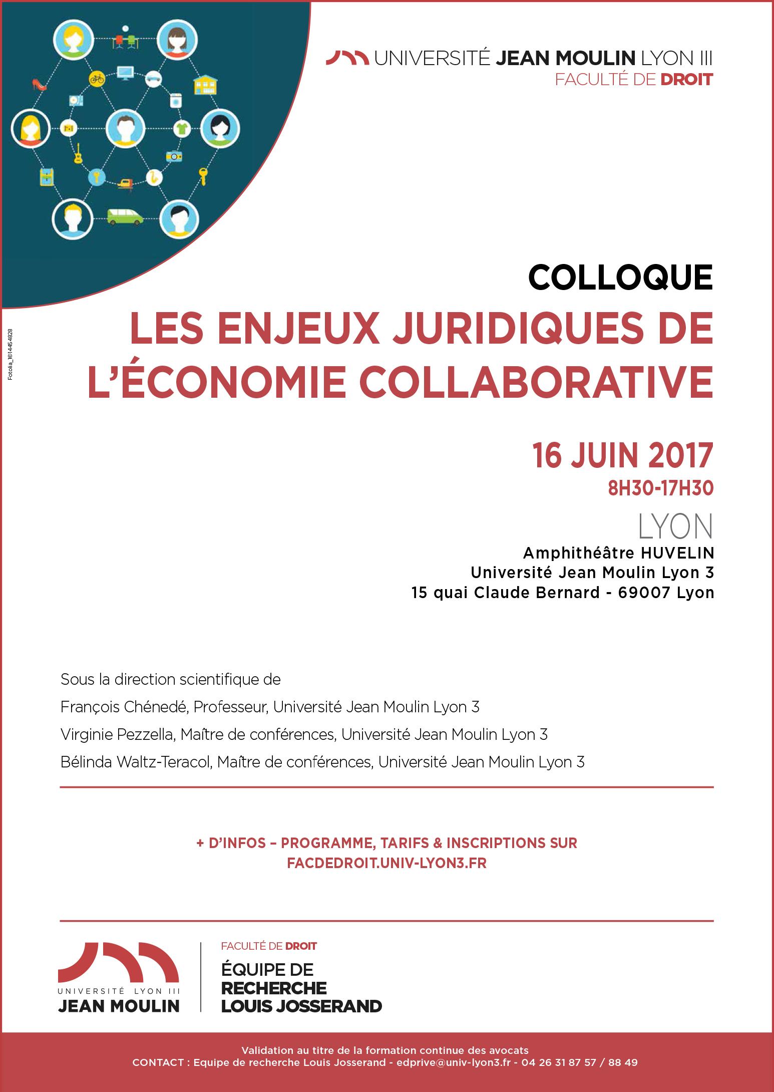 Affiche Les enjeux juridiques de l'économie collaborative 16 juin