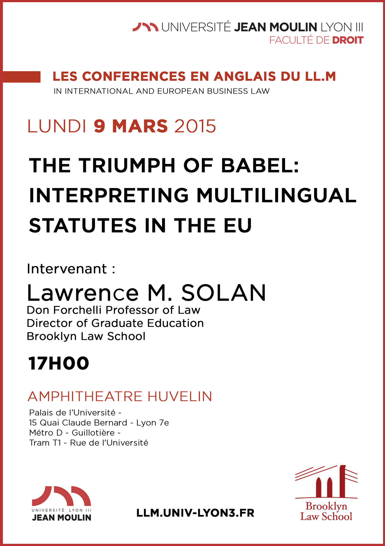 affiche conférence professeur Lawrence Sloan 9 mars