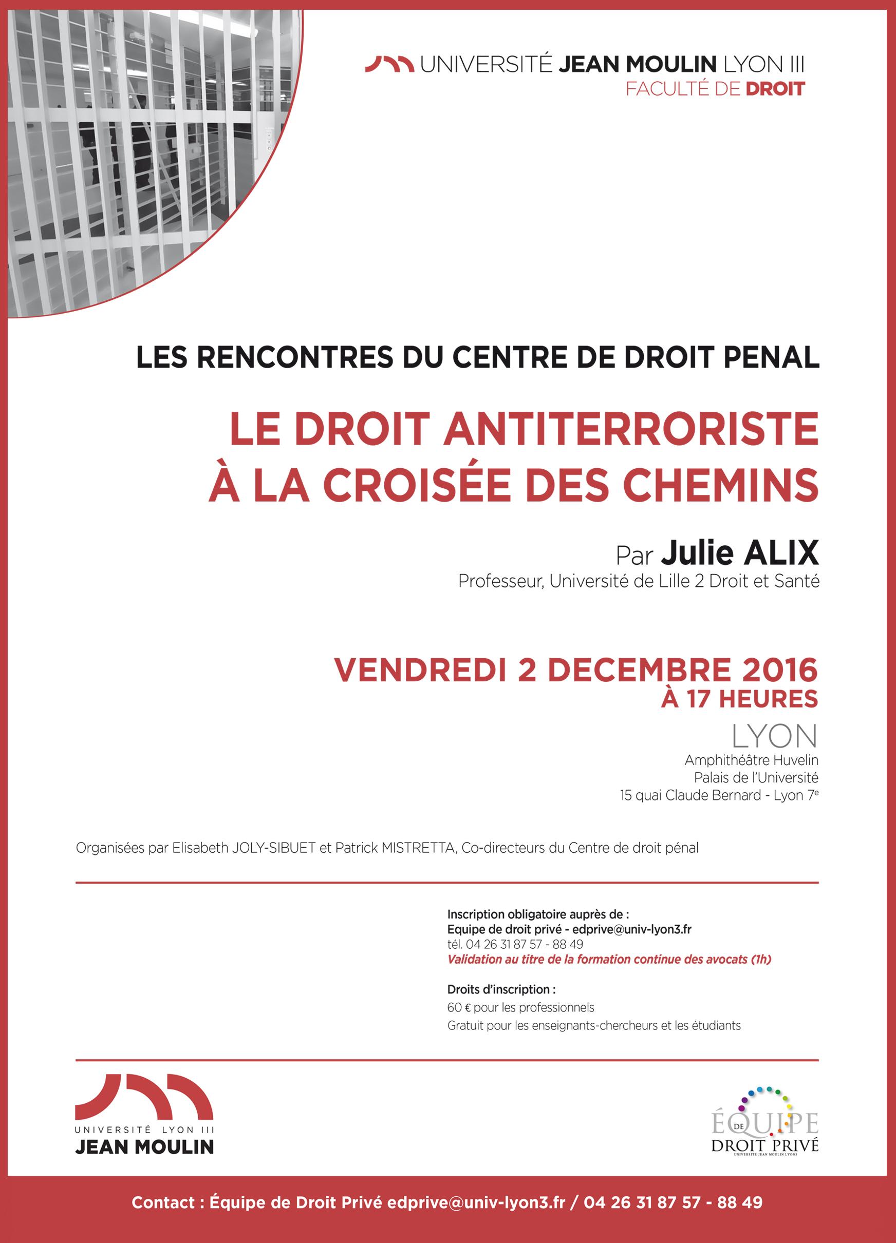 Affiche Rencontres Centre Droit Pénal 2 décembre 2016