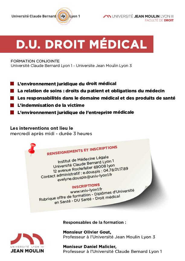 Affiche DIU Droit Médical