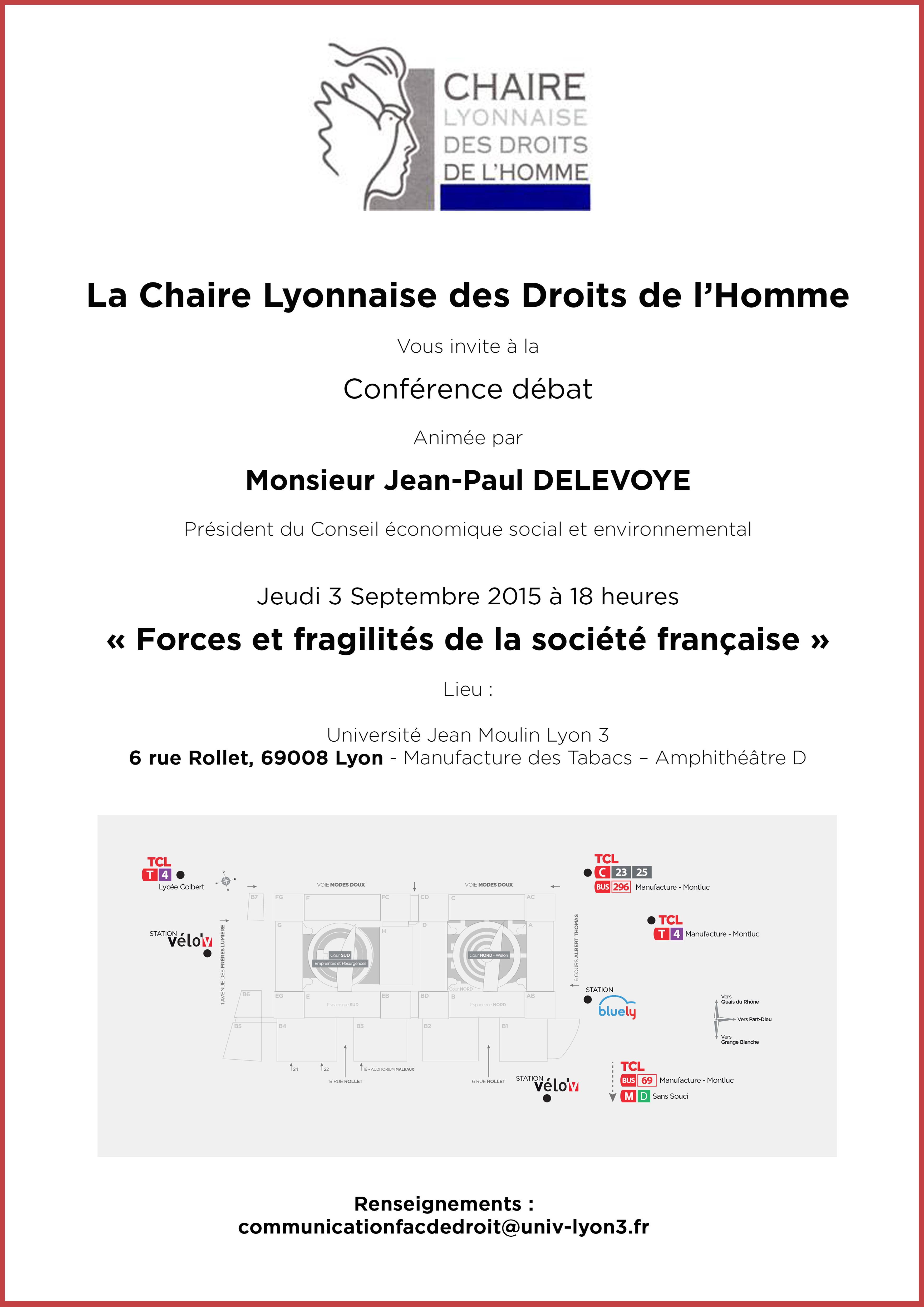 Affiche Chaire Lyonnaise des Droits de l'Homme