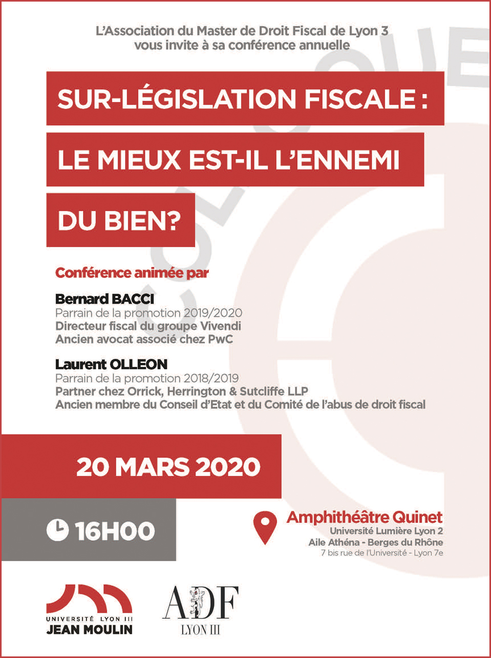 Conference Anuelle Master Droit Fiscal