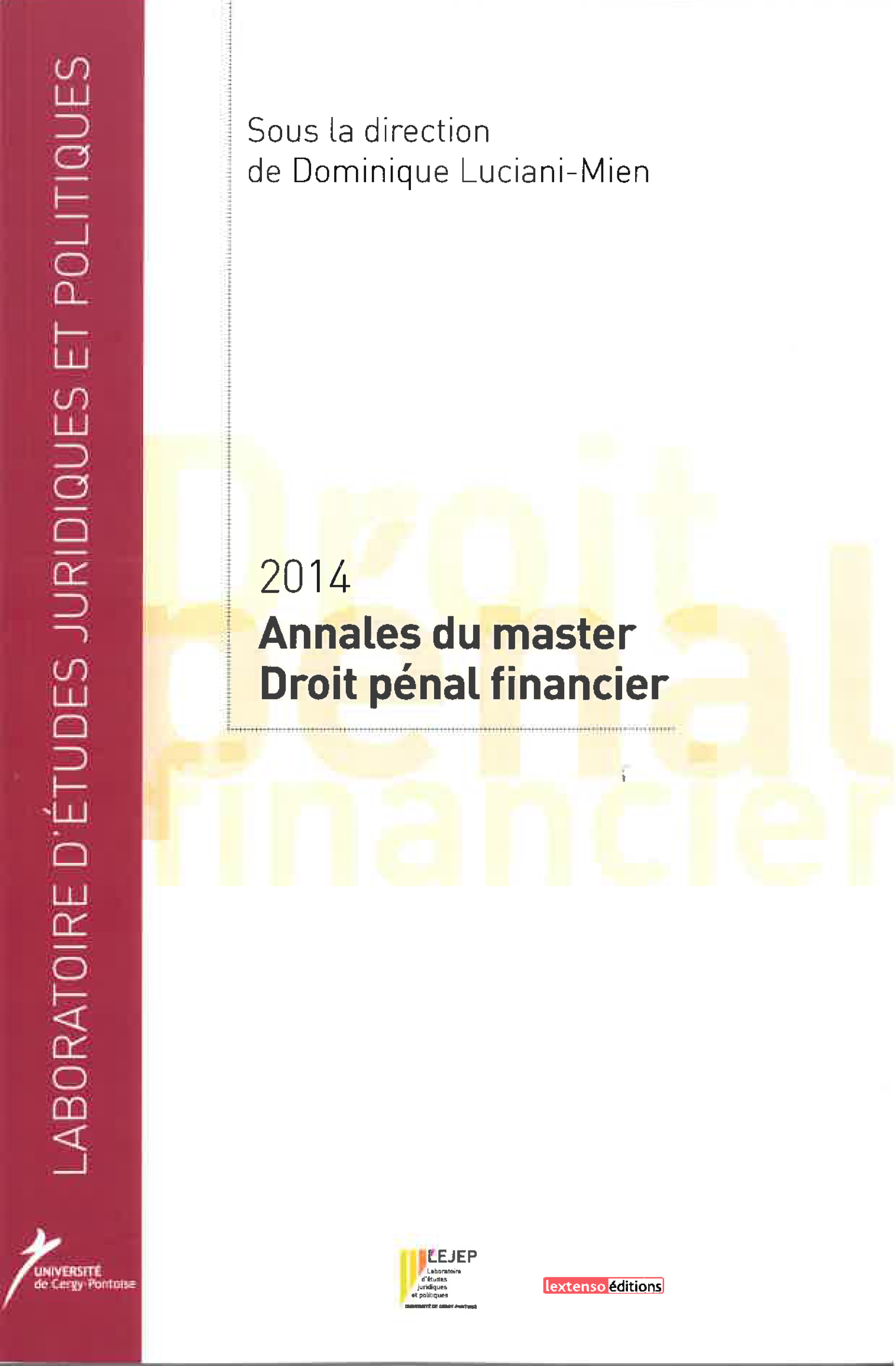 couverture annales master droit penal financier