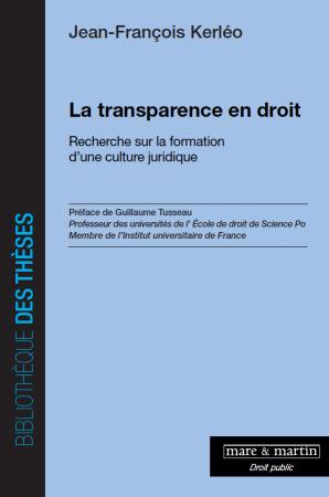 couverture publication la transparence en droit